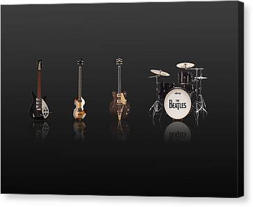 Beat Of Beatles Black Canvas Print by Six Artist