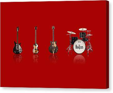 Beat Of Beatles Red Canvas Print by Six Artist