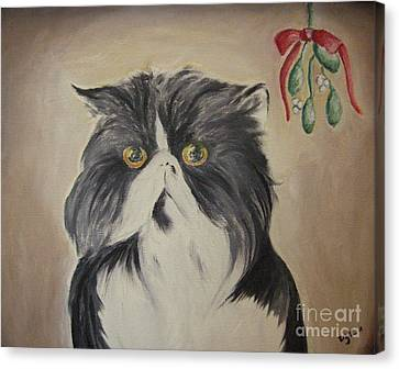 Beau With Mistletoe Canvas Print by Victoria Lakes
