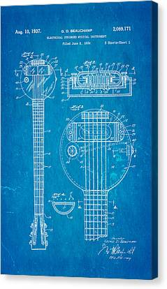 Beauchamp First Electric Guitar Patent Art 1937 Blueprint Canvas Print by Ian Monk