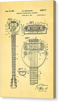 Beauchamp First Electric Guitar Patent Art 1937 Canvas Print by Ian Monk