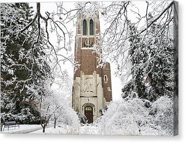 Beaumont Tower Ice Storm  Canvas Print by John McGraw