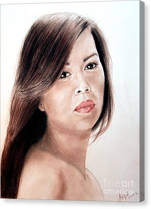 Beautiful Filipina Woman Canvas Print by Jim Fitzpatrick