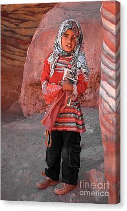 Beautiful Girl At Petra Jordan Canvas Print by Eva Kaufman