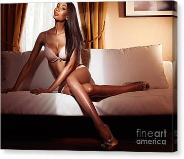 Beautiful Glamorous Black Woman In Lingerie Sitting On Sofa Canvas Print by Oleksiy Maksymenko