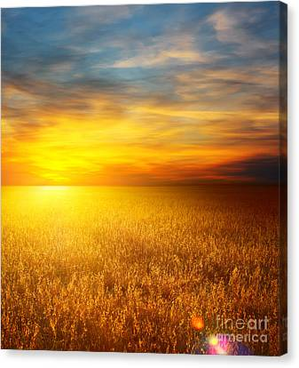 Beautiful Sunset Paintings Canvas Print by Boon Mee