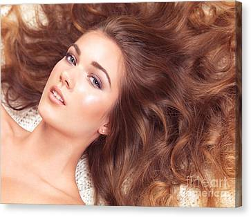 Beautiful Woman With Long Hair Spread Around Her Canvas Print by Oleksiy Maksymenko