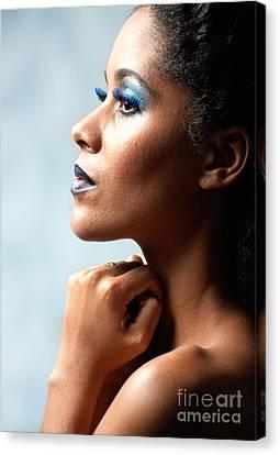 Beautiful Young Black Woman Looking Away Canvas Print by Joe Fox