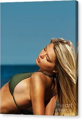 Beautiful Young Blond Woman In Bikini On The Beach Canvas Print by Oleksiy Maksymenko