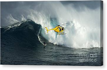Beauty Of Surfing Jaws Maui 8 Canvas Print by Bob Christopher