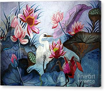 Beauty Of The Lake Hand Embroidery Canvas Print by To-Tam Gerwe
