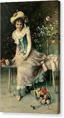 Beauty On A Garden Bench Canvas Print by Francesco Vinea