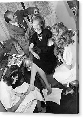 Beauty Salon Glamorizing Canvas Print by Underwood Archives