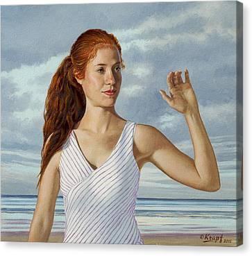 Becca Waving Canvas Print by Paul Krapf