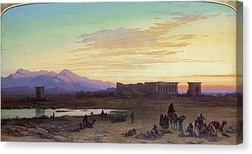 Bedouin Encampment Before The Temple Of Hathor At Dendera Canvas Print by Charles Vacher