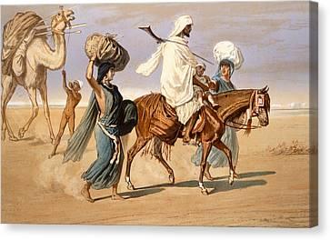 Bedouin Family Travels Across The Desert Canvas Print by Henri de Montaut