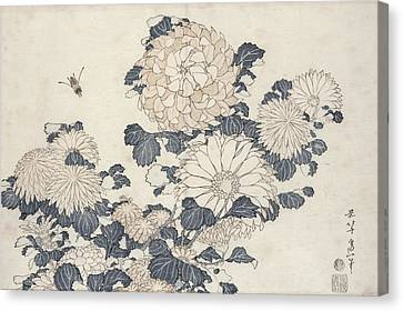 Bee And Chrysanthemums Canvas Print by Katsushika Hokusai