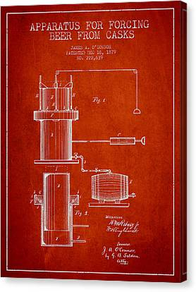 Beer Apparatus Patent Drawing From 1879 - Red Canvas Print by Aged Pixel