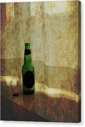 Beer Bottle On Windowsill Canvas Print by Randall Nyhof