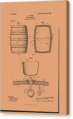 Beer Keg Patent - 1898 Canvas Print by Mountain Dreams
