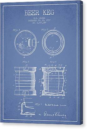 Beer Keg Patent Drawing From 1937 - Light Blue Canvas Print by Aged Pixel