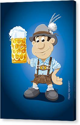 Beer Stein Lederhosen Oktoberfest Cartoon Man Canvas Print by Frank Ramspott