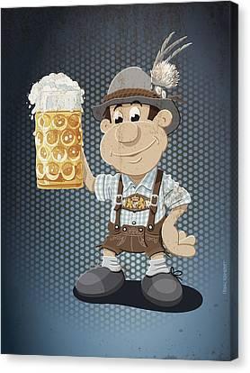Beer Stein Lederhosen Oktoberfest Cartoon Man Grunge Color Canvas Print by Frank Ramspott