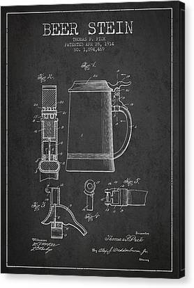 Beer Stein Patent From 1914 - Dark Canvas Print by Aged Pixel