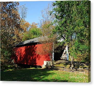 Beeson Covered Bridge 1 Canvas Print by Mel Steinhauer
