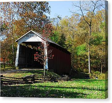 Beeson Covered Bridge 2 Canvas Print by Mel Steinhauer
