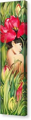 Behind The Curtain Of Colours -the Tulip Canvas Print by Anna Ewa Miarczynska