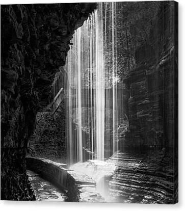 Behind The Falls Black And White Square Canvas Print by Bill Wakeley