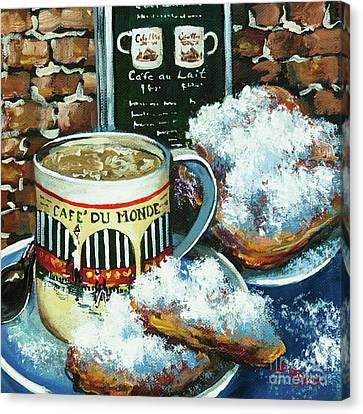 Beignets And Cafe Au Lait Canvas Print by Dianne Parks