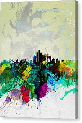Beijing Watercolor Skyline Canvas Print by Naxart Studio