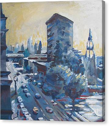 Belding Building View Canvas Print by Vanessa Hadady BFA MA