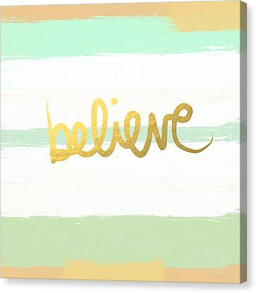 Believe In Mint And Gold Canvas Print by Linda Woods