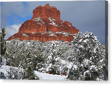 Bell Rock With Snow Canvas Print by Donna Kennedy