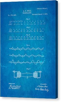 Bell Telephone Patent Art 1876 Blueprint Canvas Print by Ian Monk