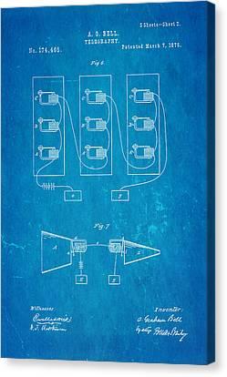 Bell Telephone Patent Art 2 1876 Blueprint Canvas Print by Ian Monk