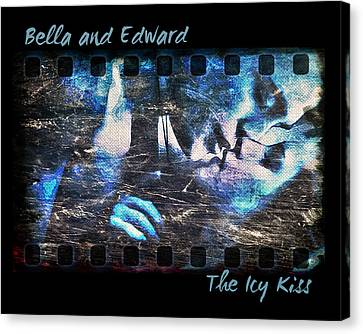Bella And Edward - The Icy Kiss Canvas Print by Absinthe Art By Michelle LeAnn Scott