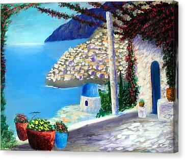 Bella Vista Di Amalfi Canvas Print by Larry Cirigliano
