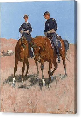 Belle Mckeever And Lt Edgar Wheelock Canvas Print by Frederic Remington