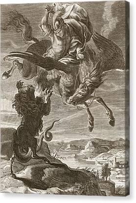 Bellerophon Fights The Chimaera, 1731 Canvas Print by Bernard Picart
