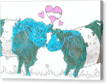 Belted Galloway Cows Cartoon Canvas Print by Mike Jory