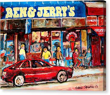 Ben And Jerrys Ice Cream Parlor Canvas Print by Carole Spandau