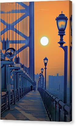 Ben Franklin Bridge Walkway Canvas Print by Bill Cannon