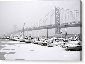 Ben Franklin Yacht Harbor Canvas Print by Andrew Dinh