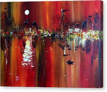 Benaras - Fiery Reflections Of A Holy City Canvas Print by Aarti Bartake
