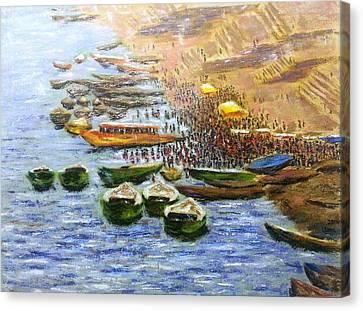 Benaras Ghats 2 Canvas Print by Uma Krishnamoorthy