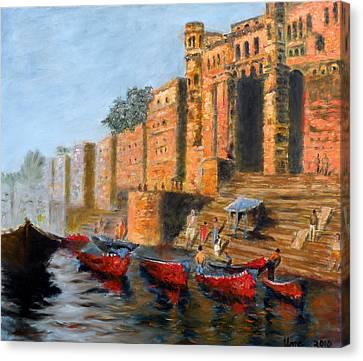 Benaras Ghats Canvas Print by Uma Krishnamoorthy